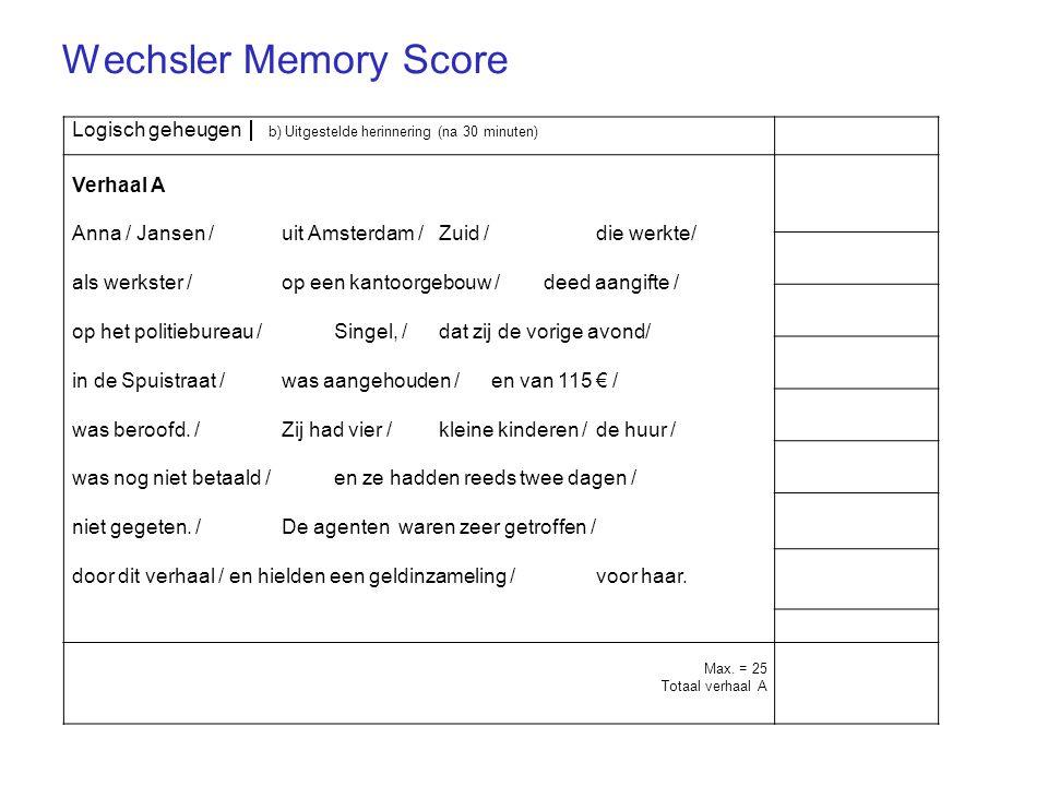 Wechsler Memory Score Logisch geheugen  b) Uitgestelde herinnering (na 30 minuten) Verhaal A.