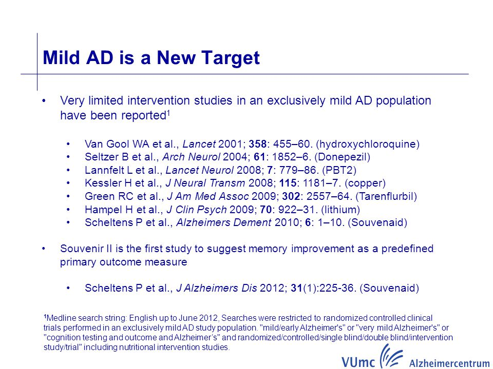 Mild AD is a New Target Very limited intervention studies in an exclusively mild AD population have been reported1.
