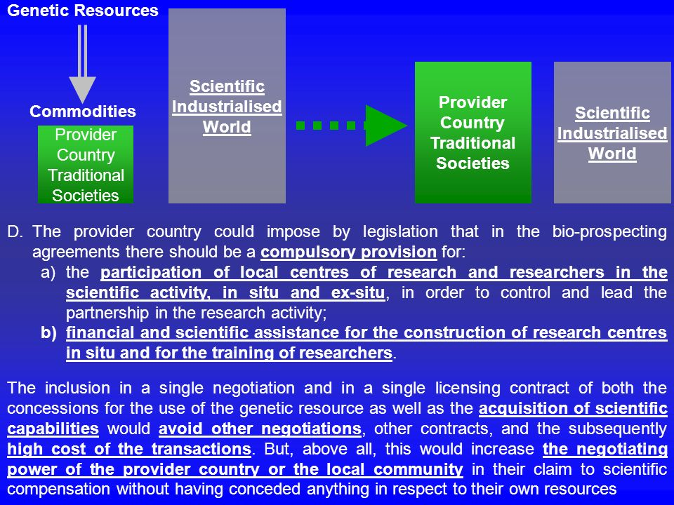 Genetic Resources Commodities. Scientific. Industrialised. World. Provider. Country. Traditional.