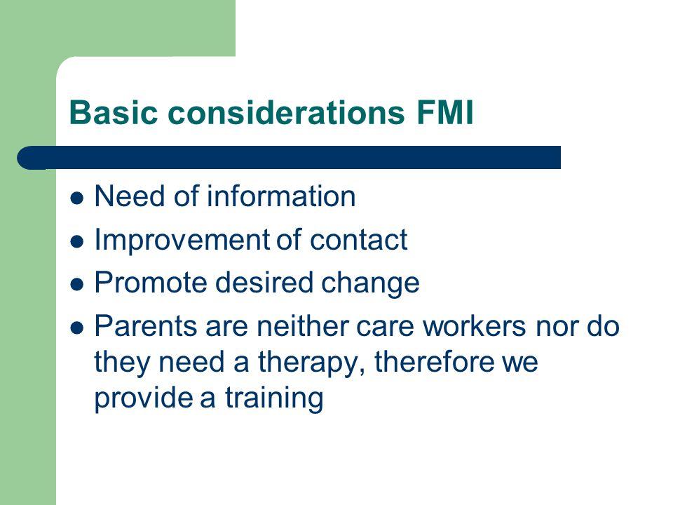 Basic considerations FMI