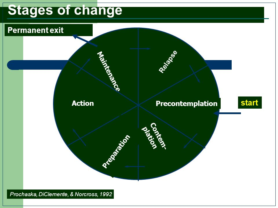 Stages of change Permanent exit start Relapse Maintenance Action