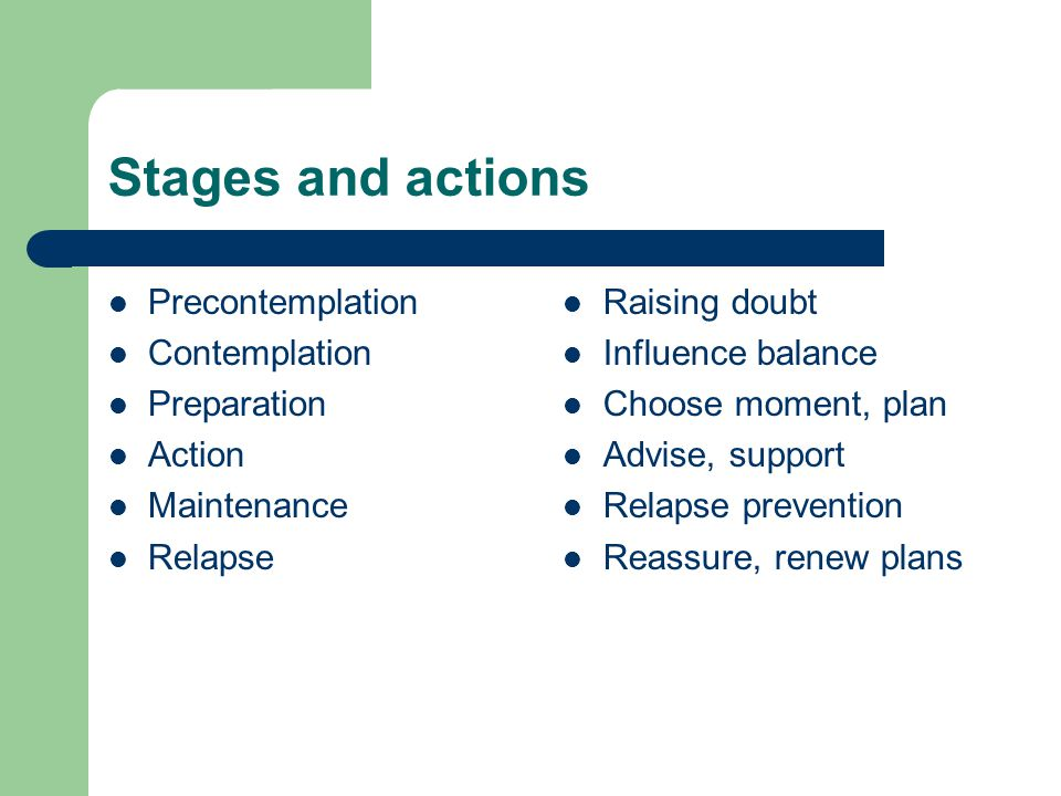 Stages and actions Precontemplation Contemplation Preparation Action