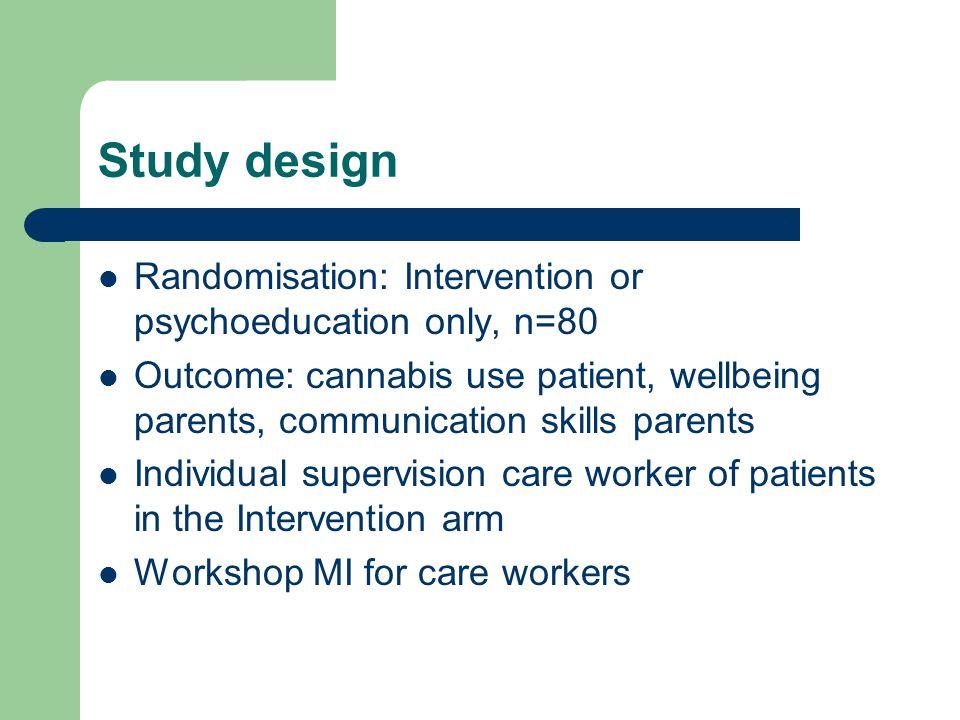 Study design Randomisation: Intervention or psychoeducation only, n=80
