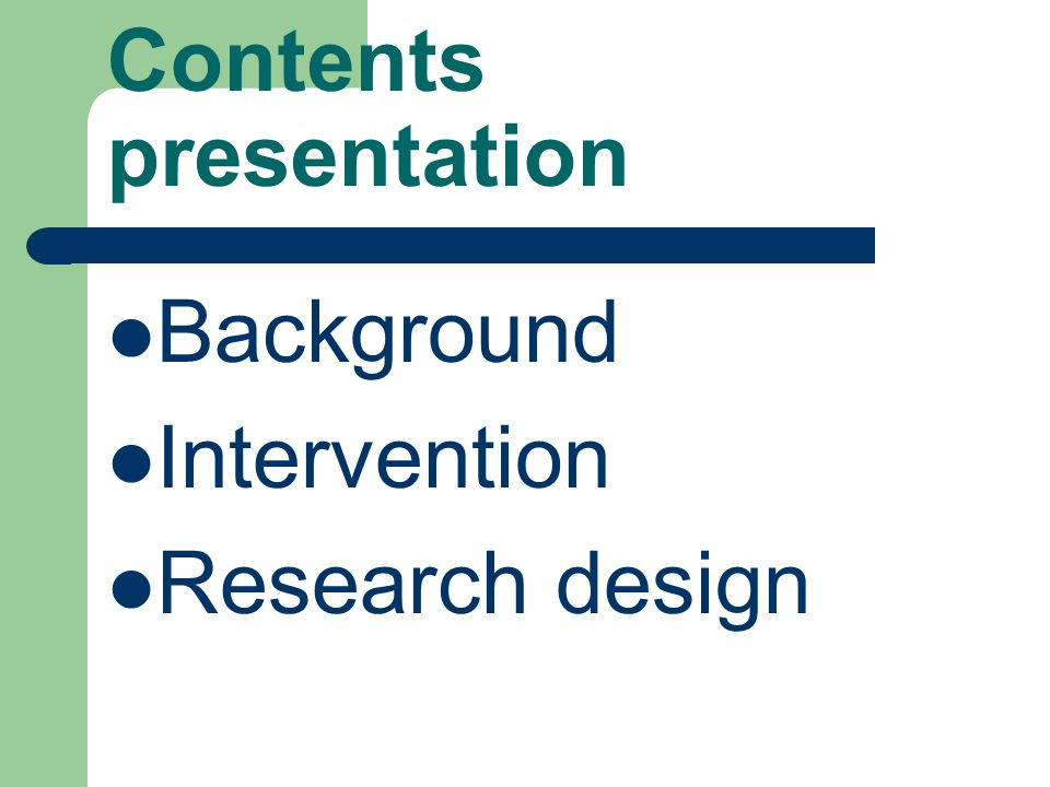 Contents presentation