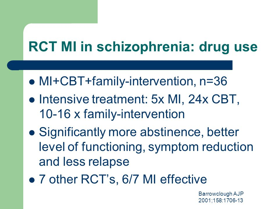 RCT MI in schizophrenia: drug use