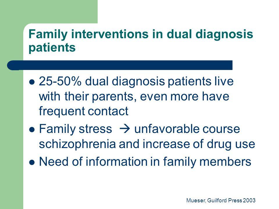 Family interventions in dual diagnosis patients