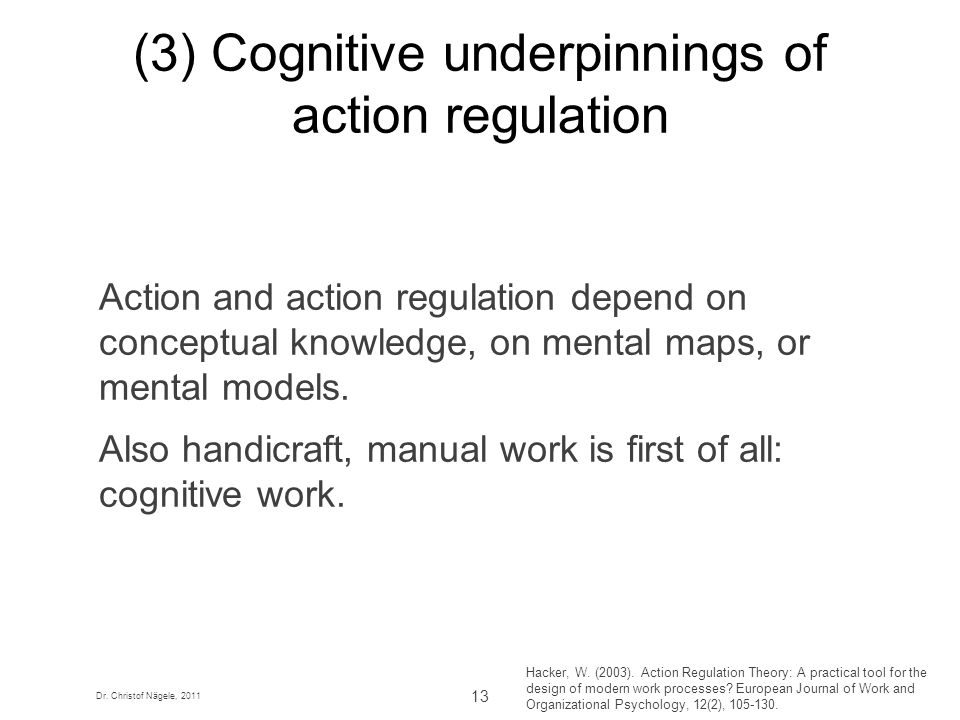 (3) Cognitive underpinnings of action regulation