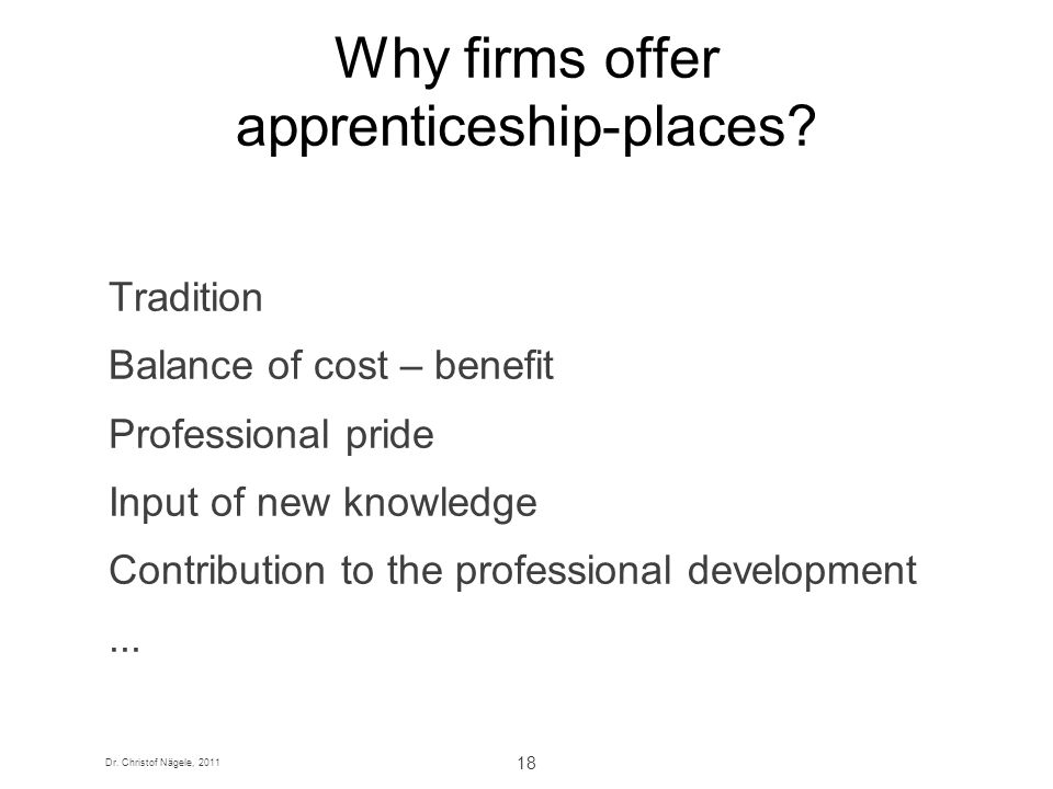 Why firms offer apprenticeship-places