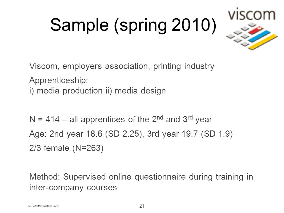 Sample (spring 2010) Viscom, employers association, printing industry
