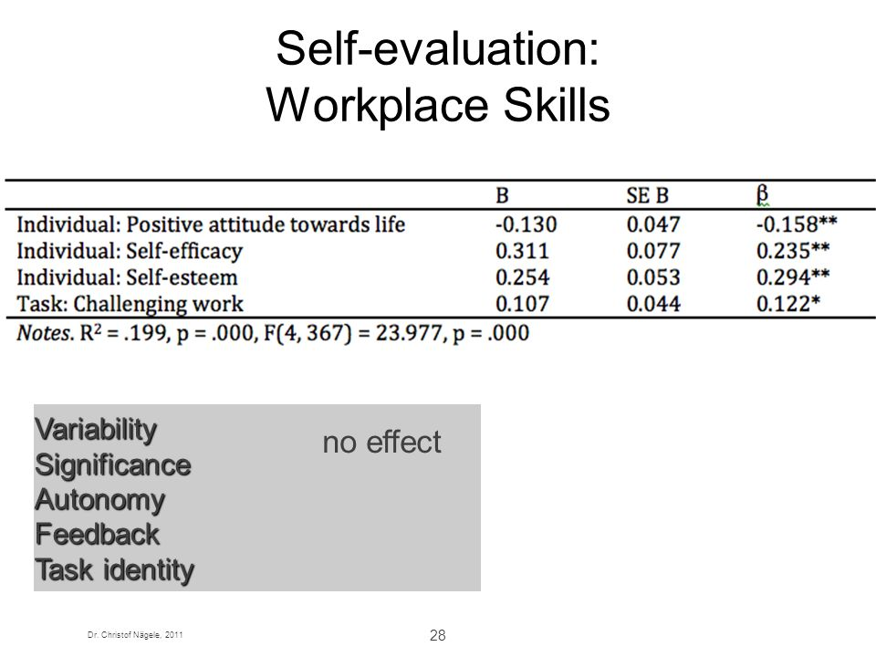 Self-evaluation: Workplace Skills