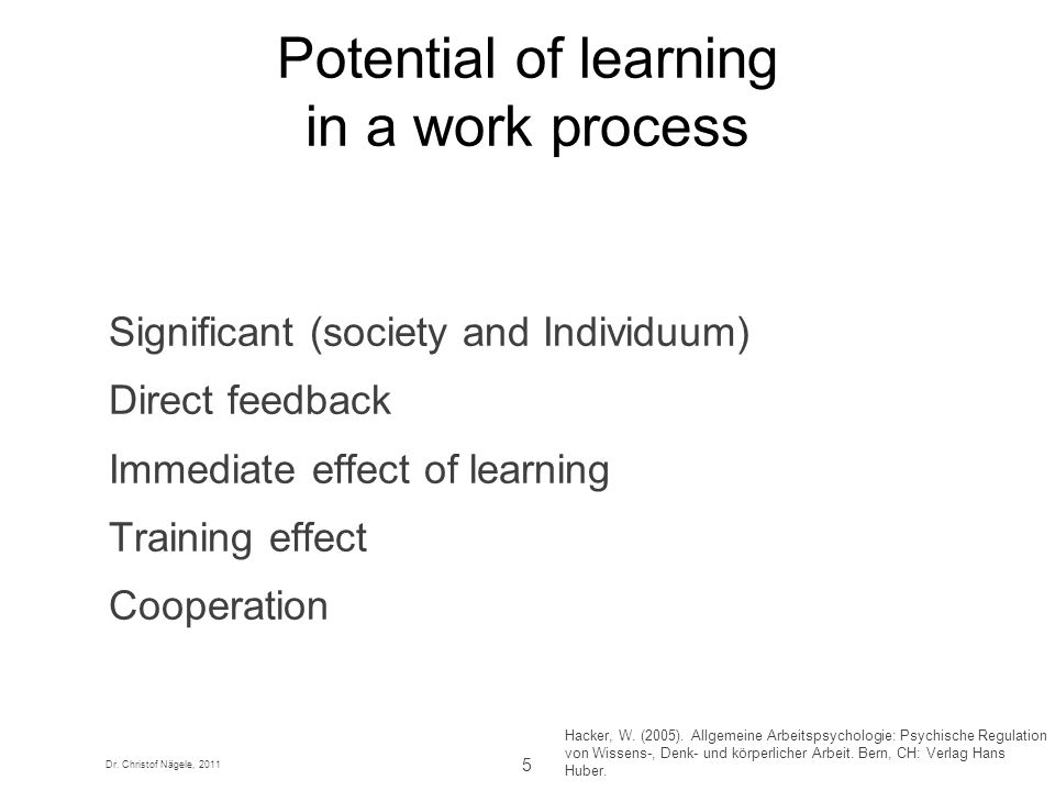 Potential of learning in a work process