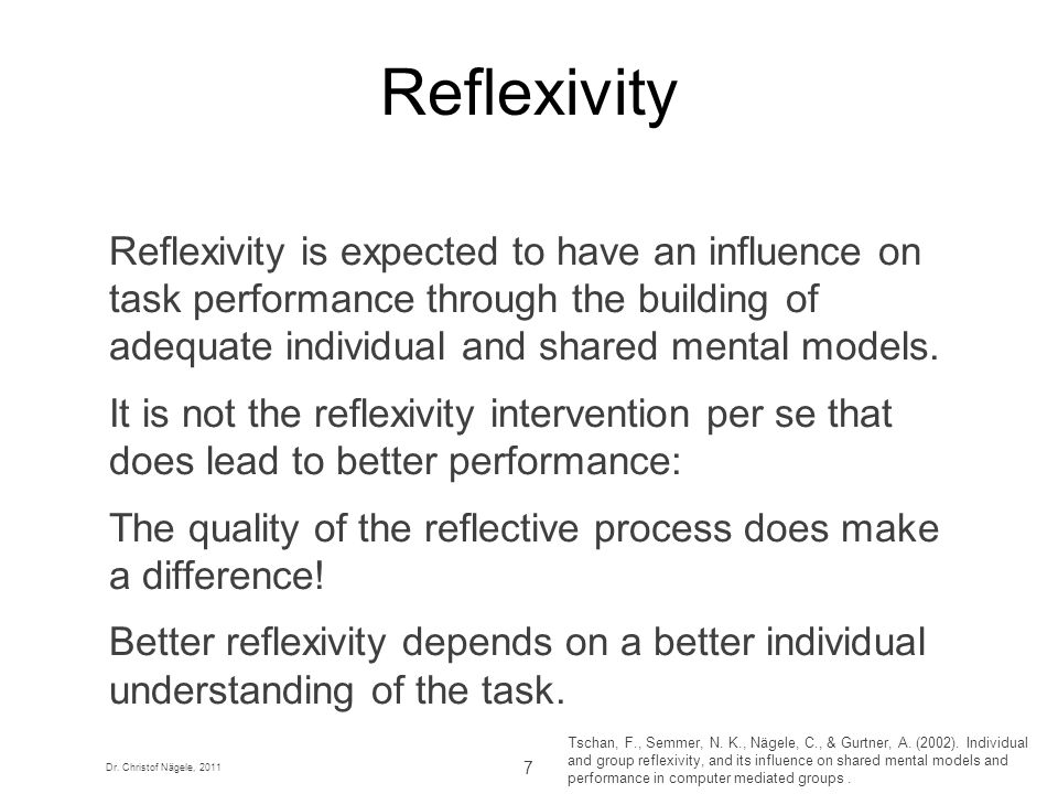 Reflexivity Reflexivity is expected to have an influence on task performance through the building of adequate individual and shared mental models.