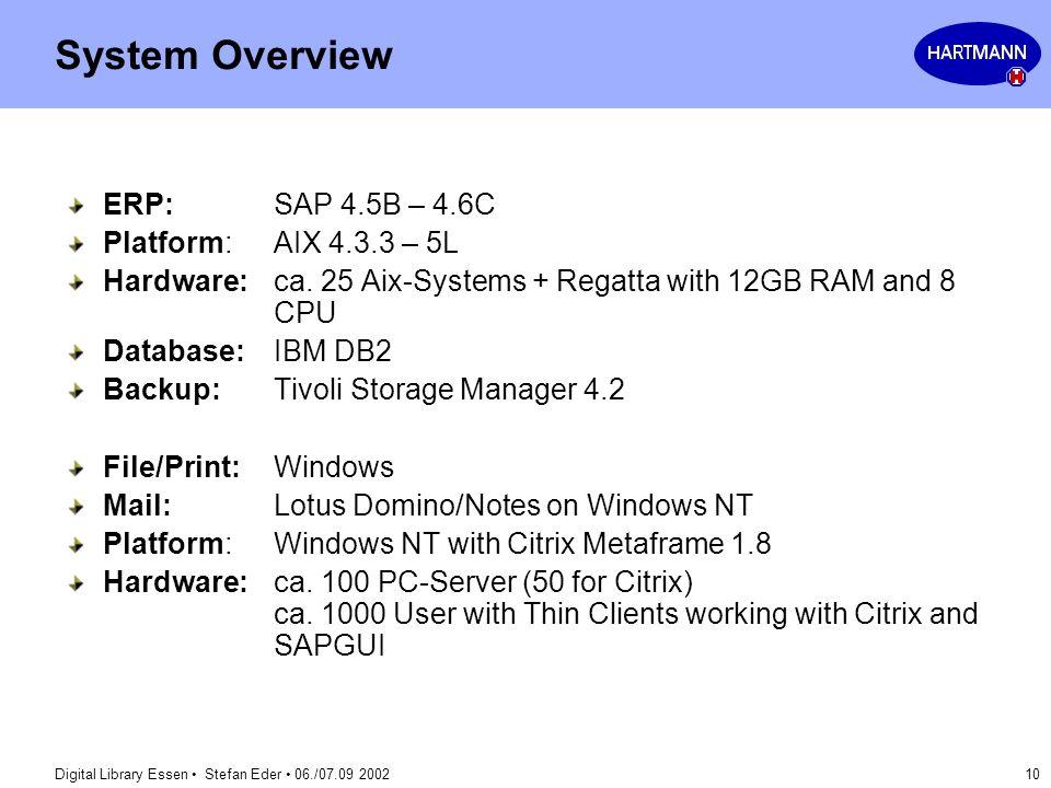System Overview ERP: SAP 4.5B – 4.6C Platform: AIX 4.3.3 – 5L