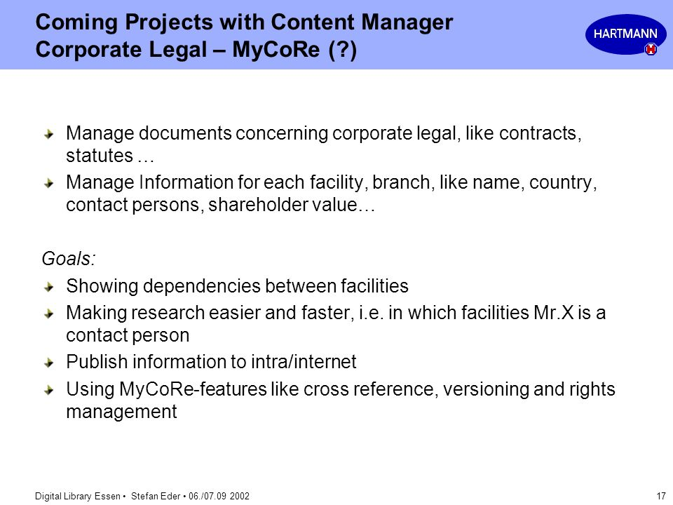 Coming Projects with Content Manager Corporate Legal – MyCoRe ( )