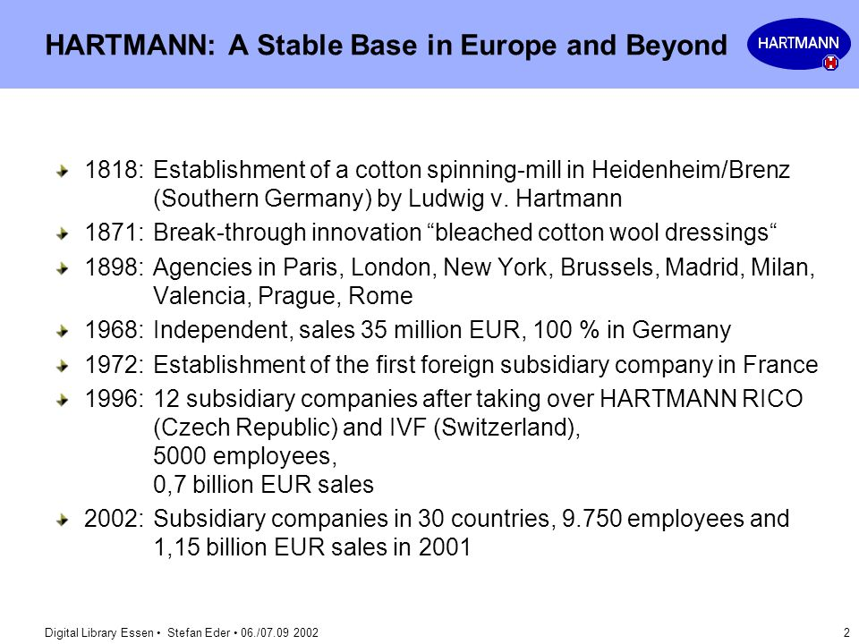 HARTMANN: A Stable Base in Europe and Beyond