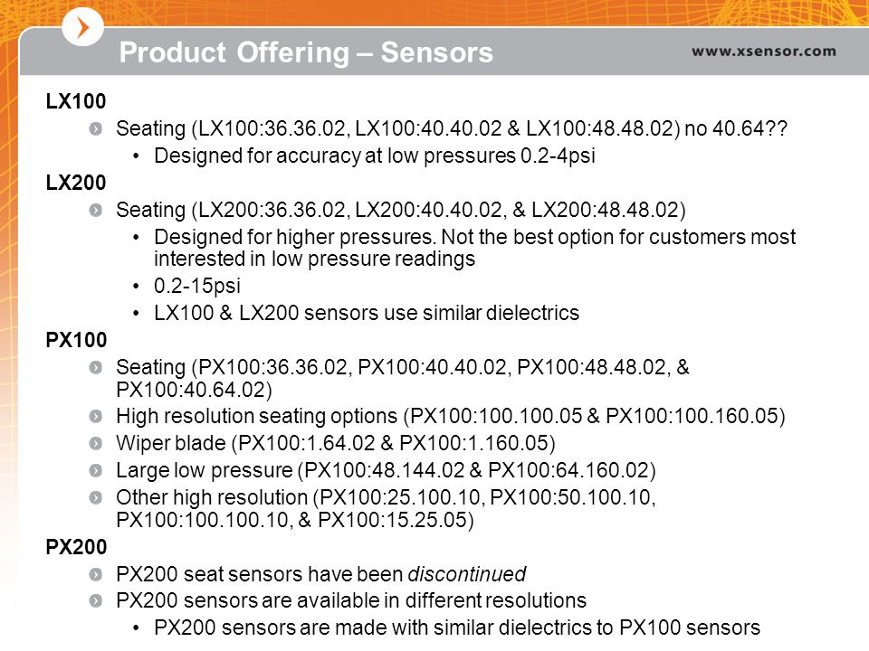 Product Offering – Sensors