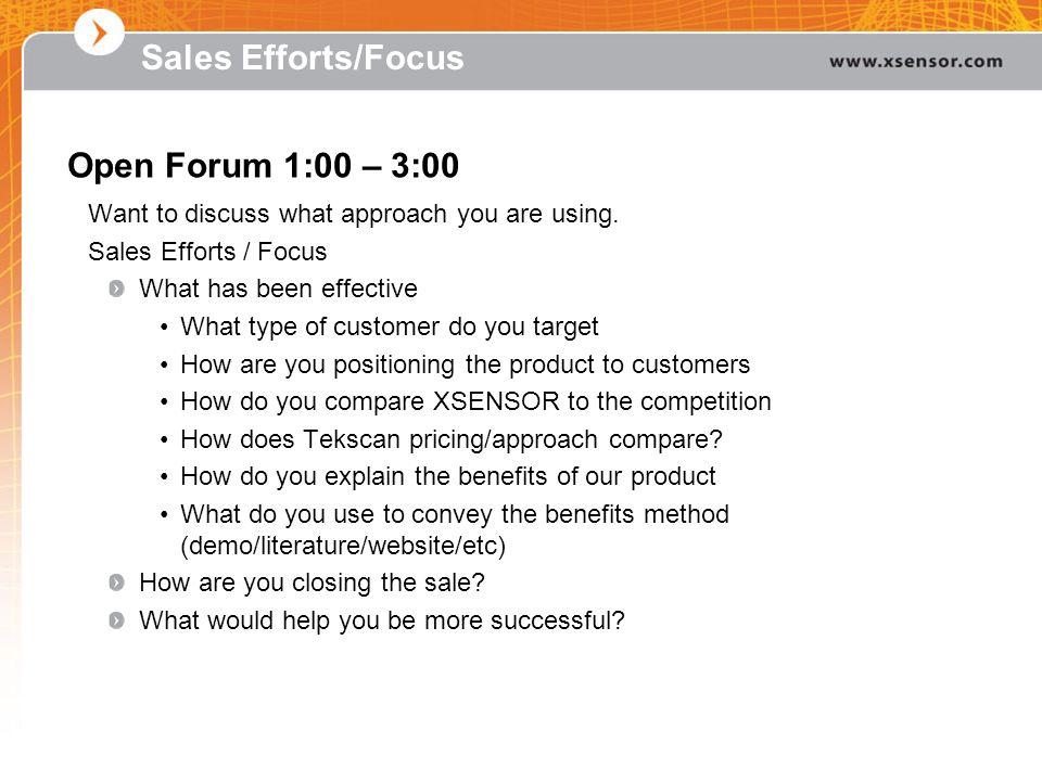 Sales Efforts/Focus Open Forum 1:00 – 3:00