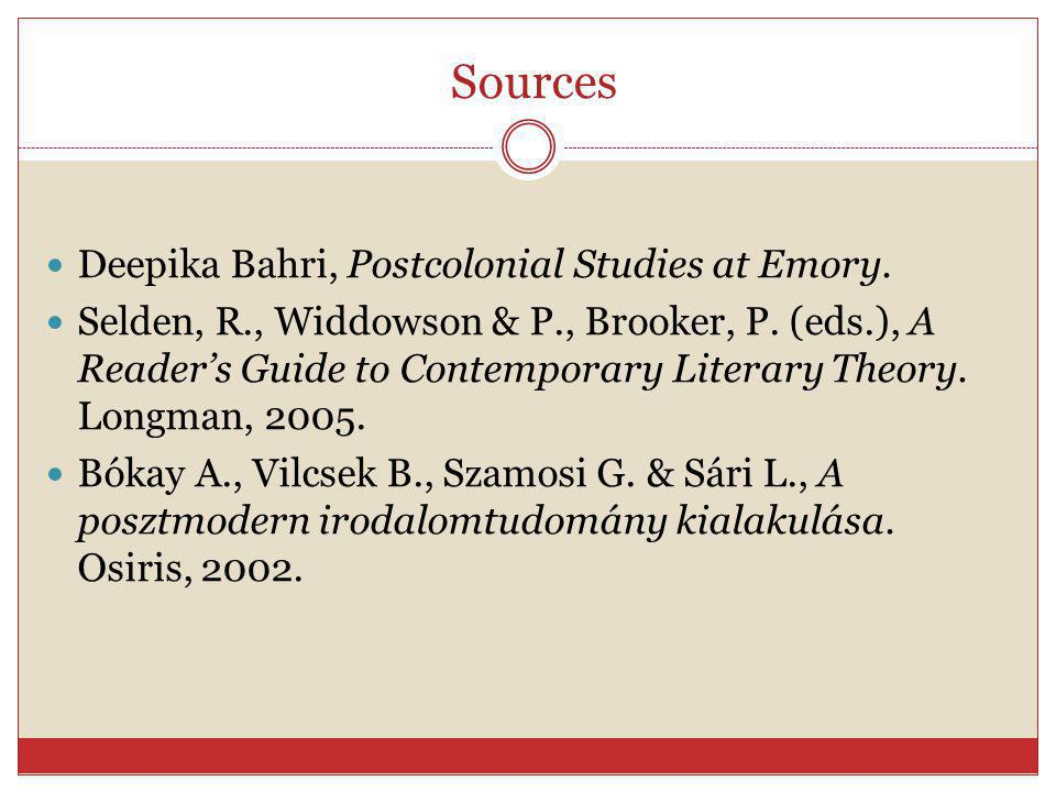 Sources Deepika Bahri, Postcolonial Studies at Emory.