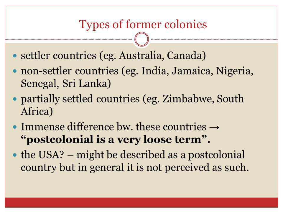 Types of former colonies