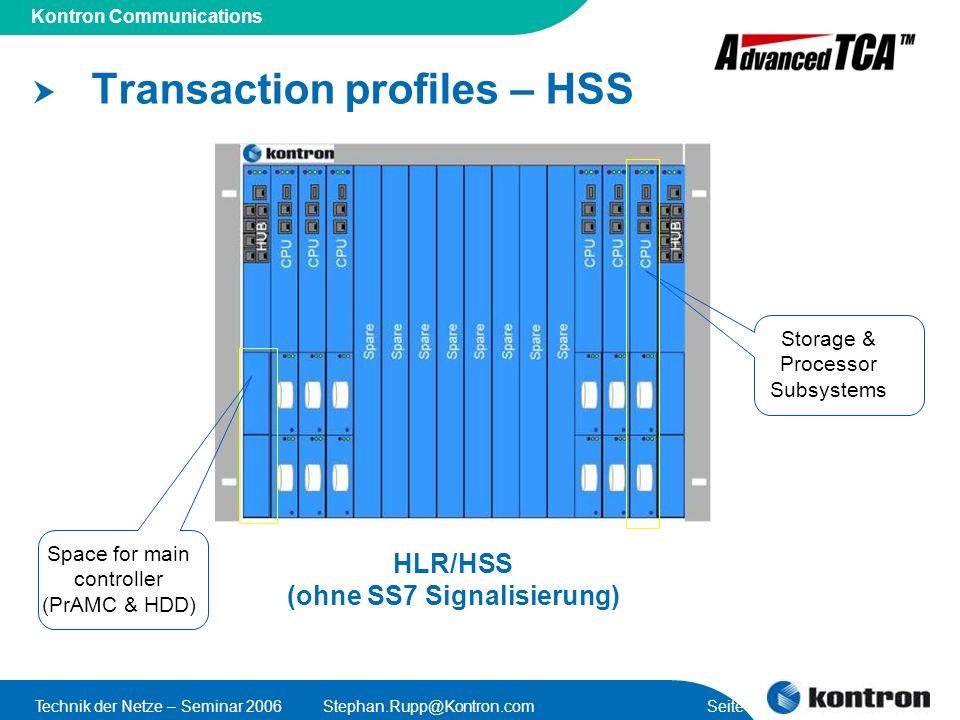 Transaction profiles – HSS