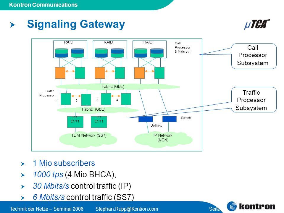 Signaling Gateway 1 Mio subscribers 1000 tps (4 Mio BHCA),