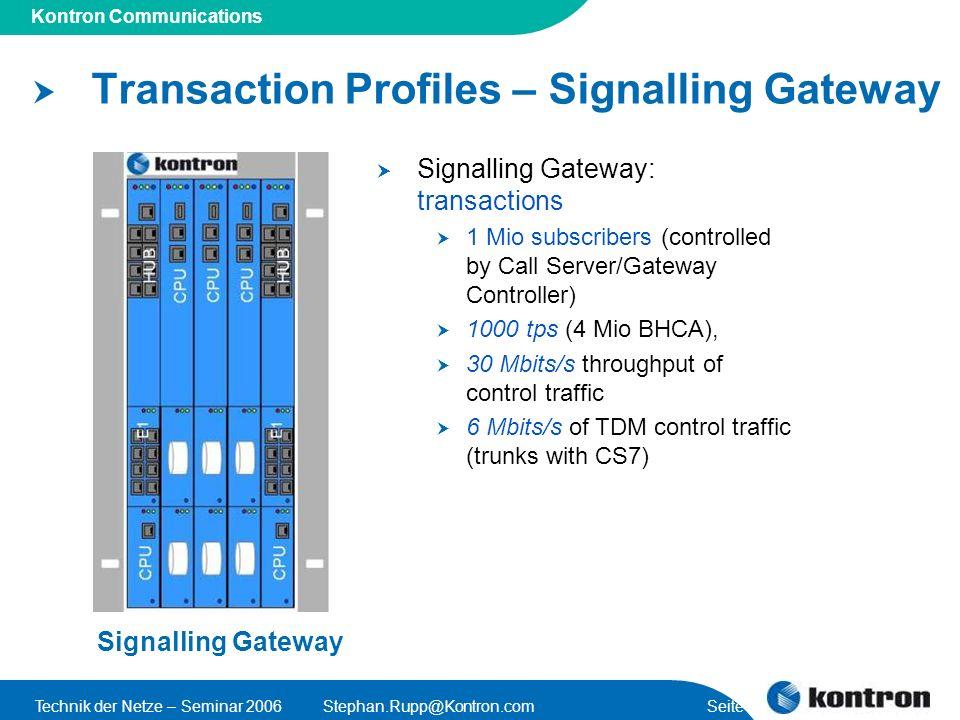 Transaction Profiles – Signalling Gateway