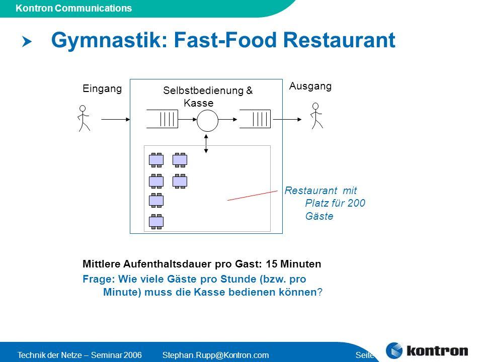 Gymnastik: Fast-Food Restaurant