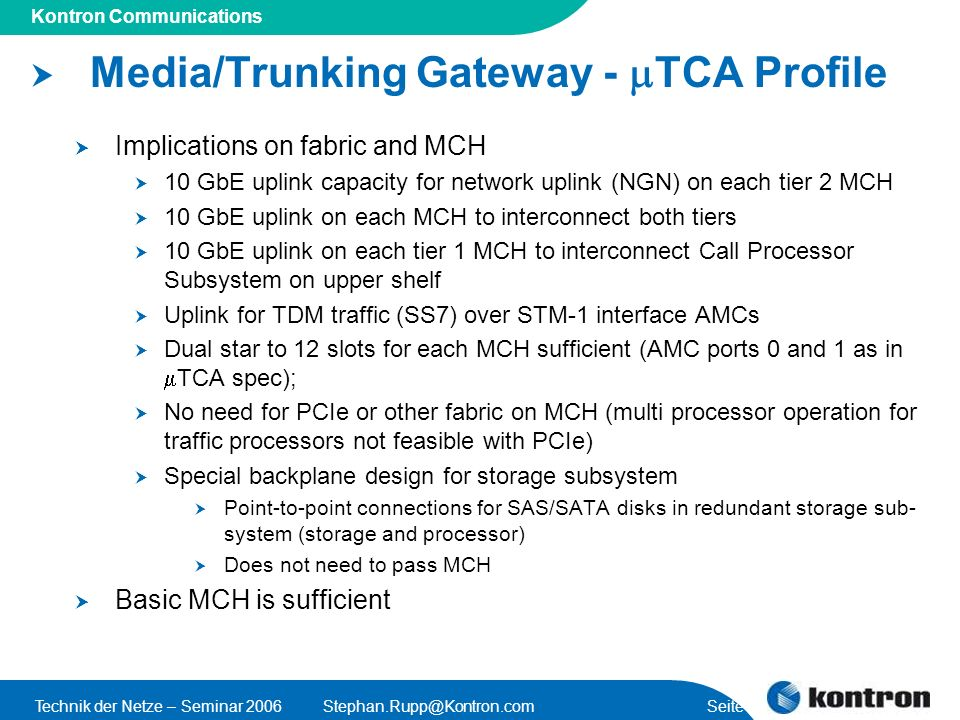 Media/Trunking Gateway - mTCA Profile