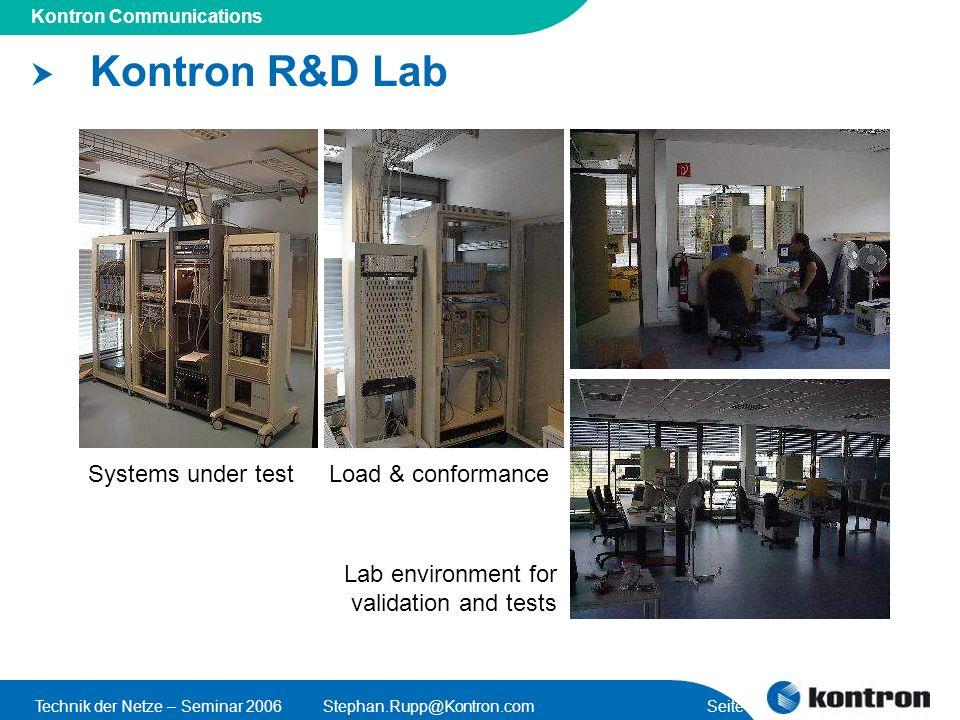 Kontron R&D Lab Systems under test Load & conformance