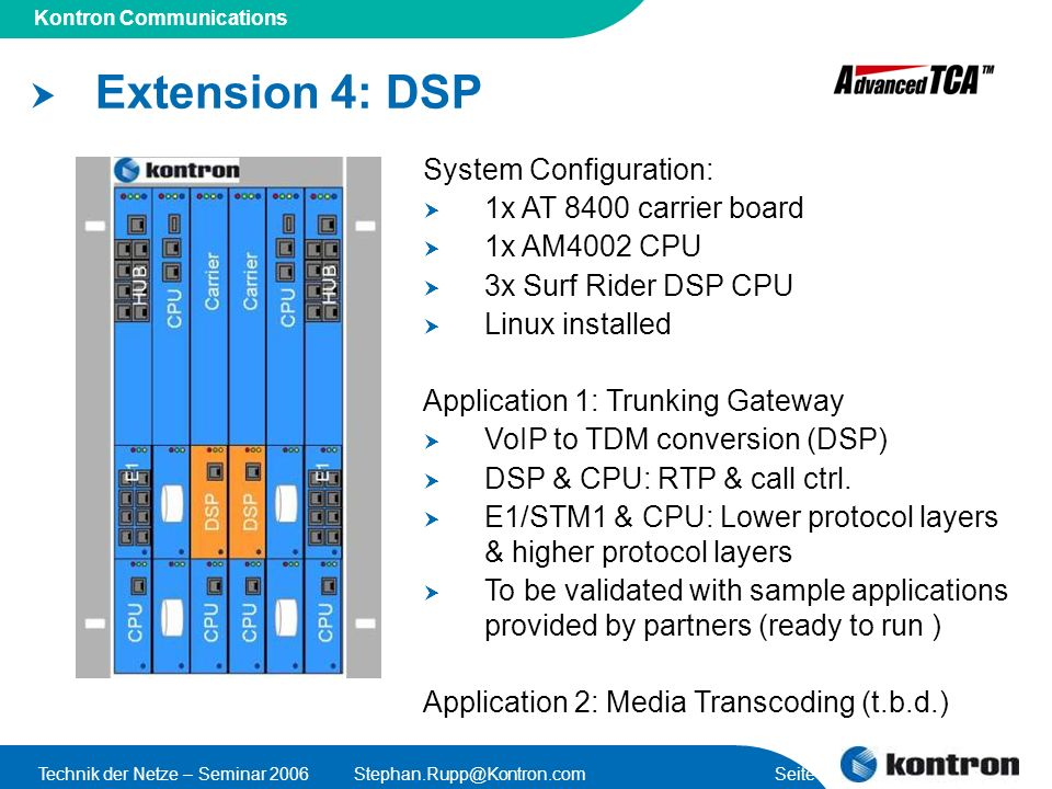 Extension 4: DSP System Configuration: 1x AT 8400 carrier board