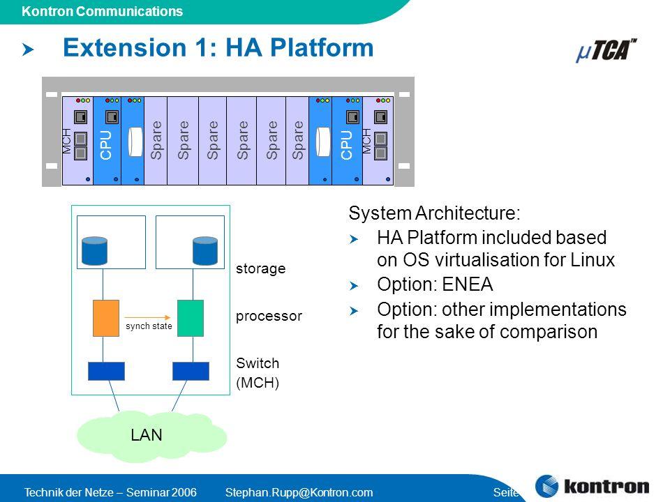 Extension 1: HA Platform