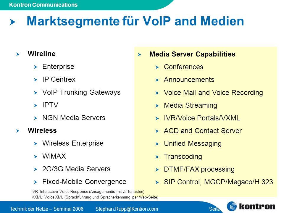 Marktsegmente für VoIP and Medien