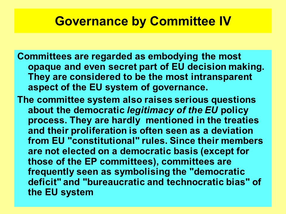 Governance by Committee IV