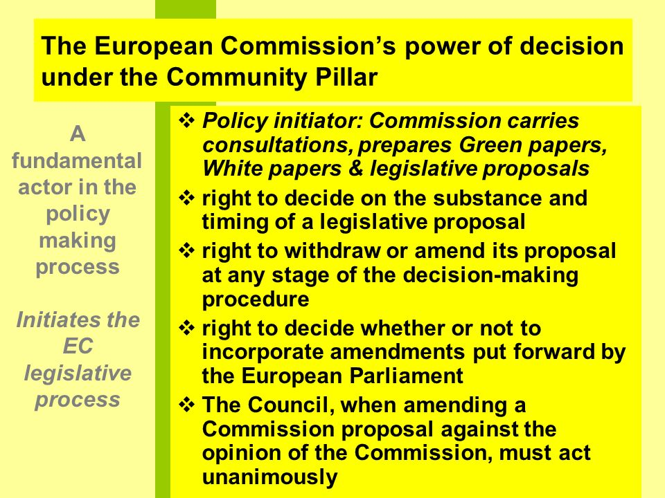 The European Commission's power of decision under the Community Pillar