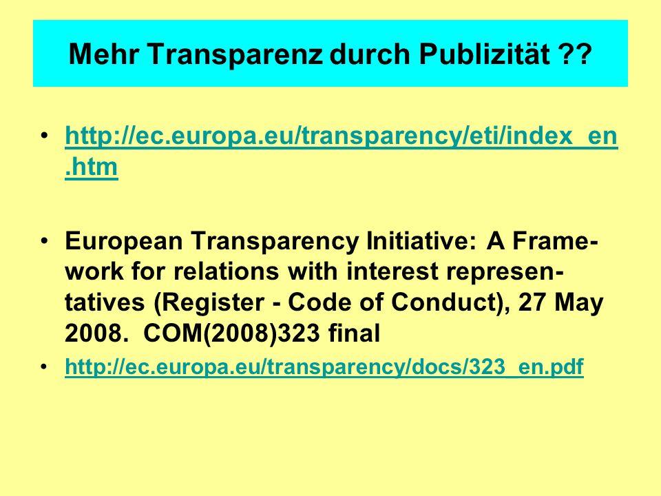 Mehr Transparenz durch Publizität