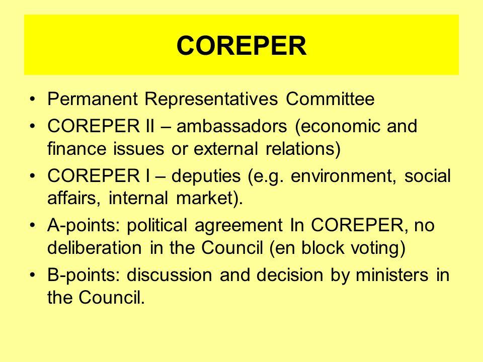 COREPER Permanent Representatives Committee
