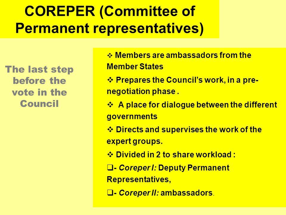 COREPER (Committee of Permanent representatives)