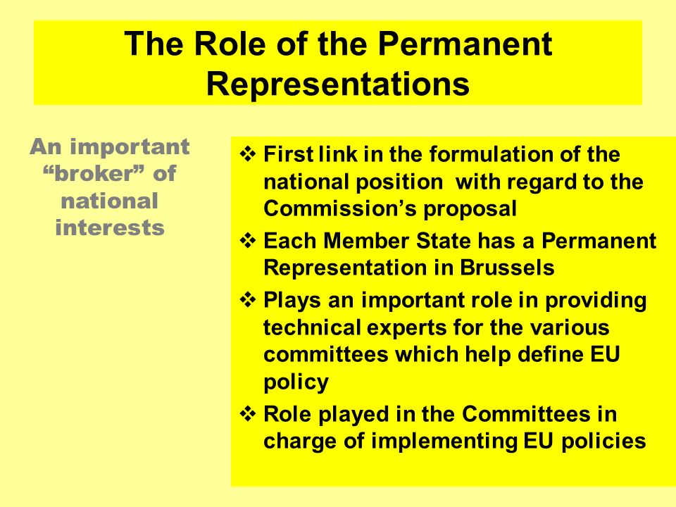 The Role of the Permanent Representations
