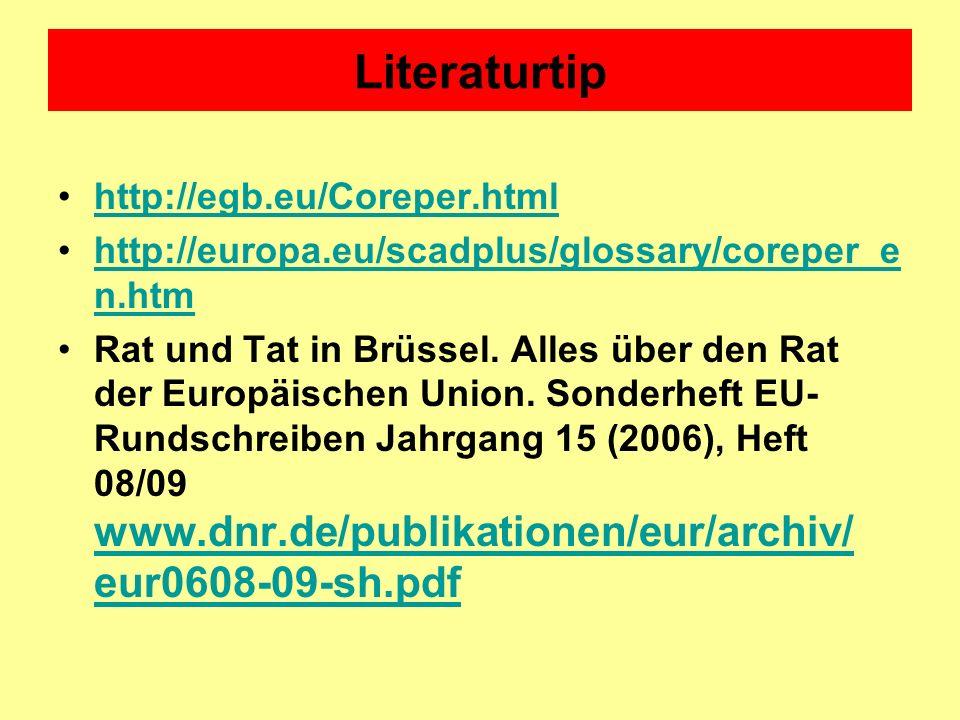 Literaturtip http://egb.eu/Coreper.html