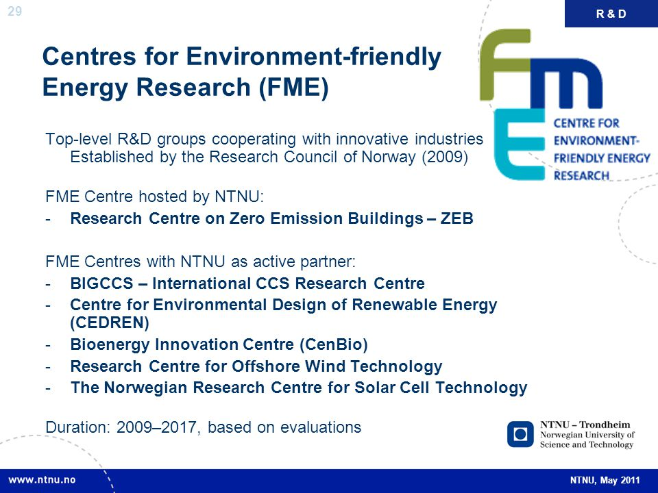 Centres for Environment-friendly Energy Research (FME)