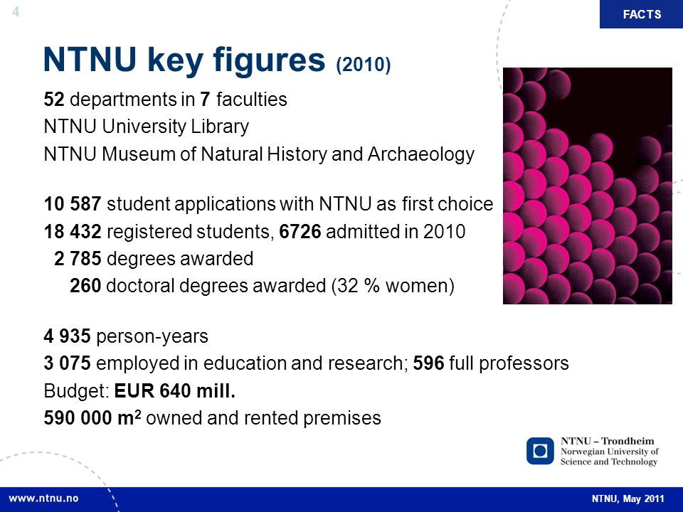 NTNU key figures (2010) 52 departments in 7 faculties