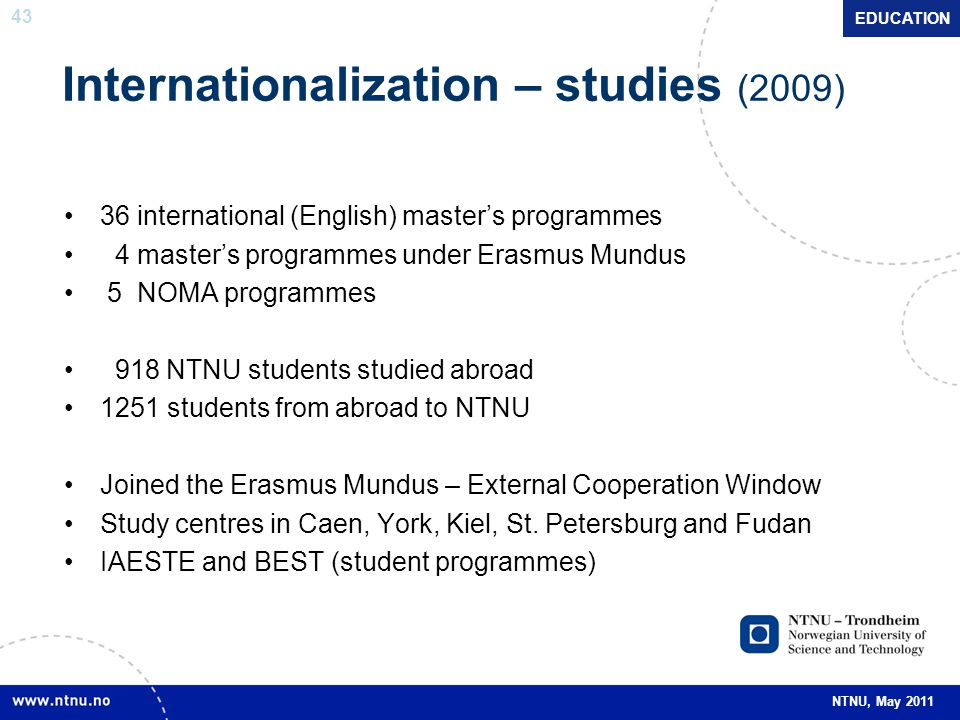 Internationalization – studies (2009)