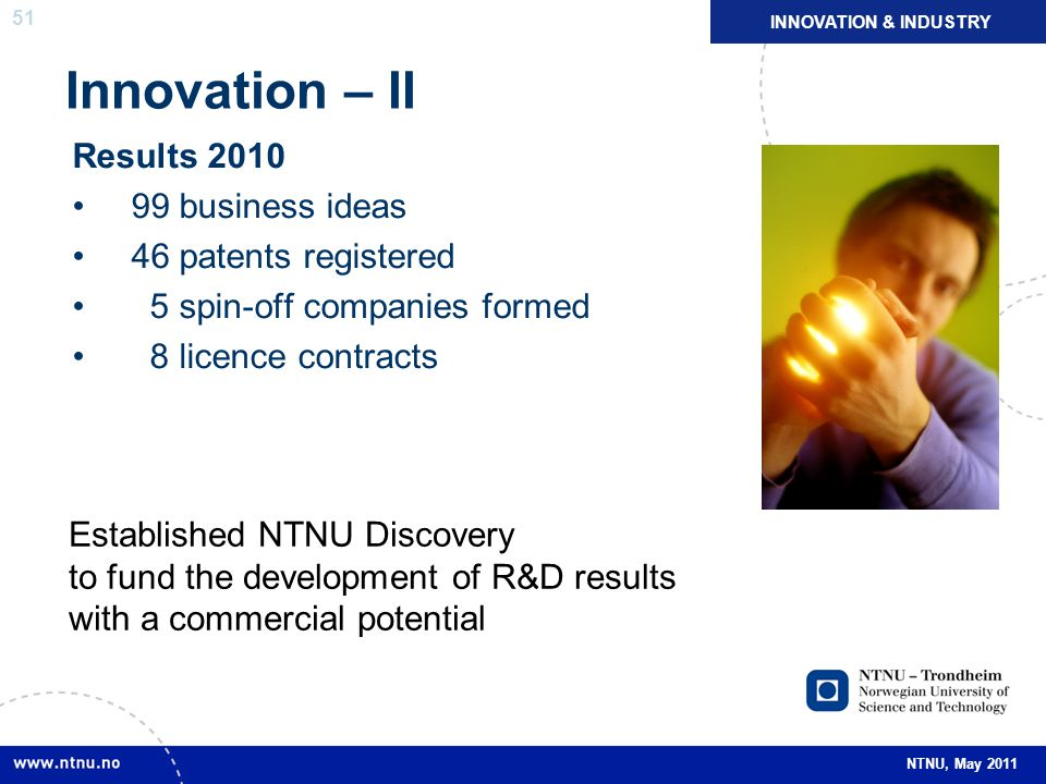 Innovation – II Results 2010 99 business ideas 46 patents registered
