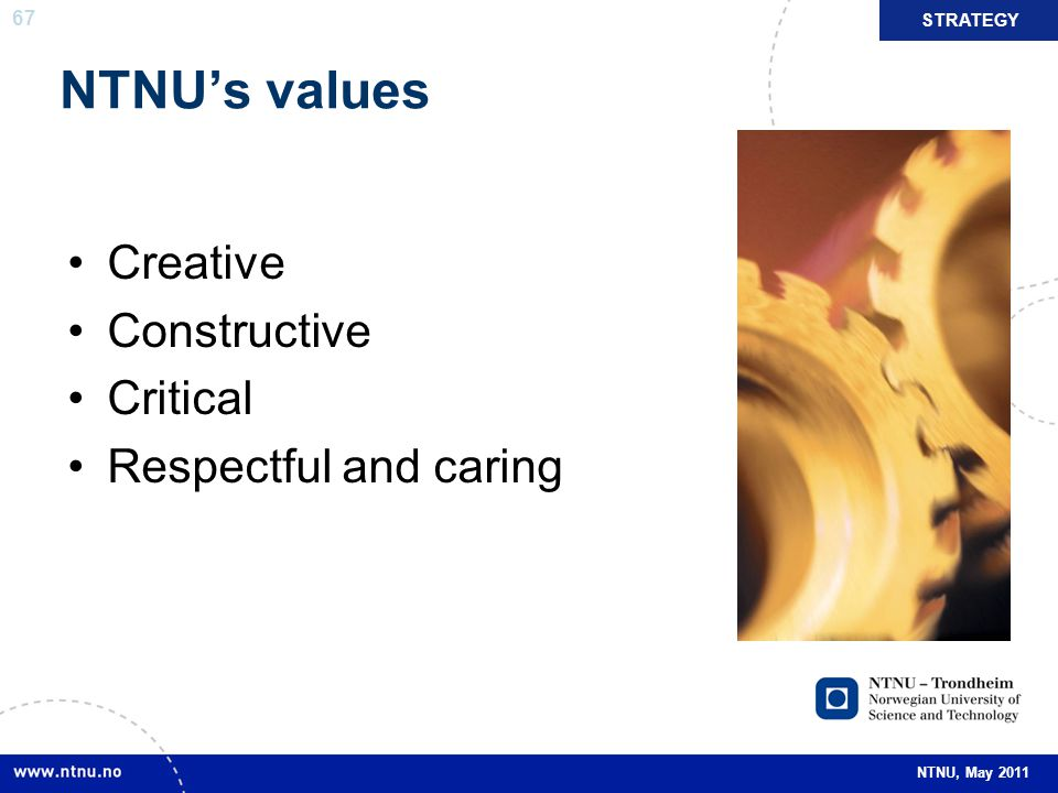 NTNU's values Creative Constructive Critical Respectful and caring