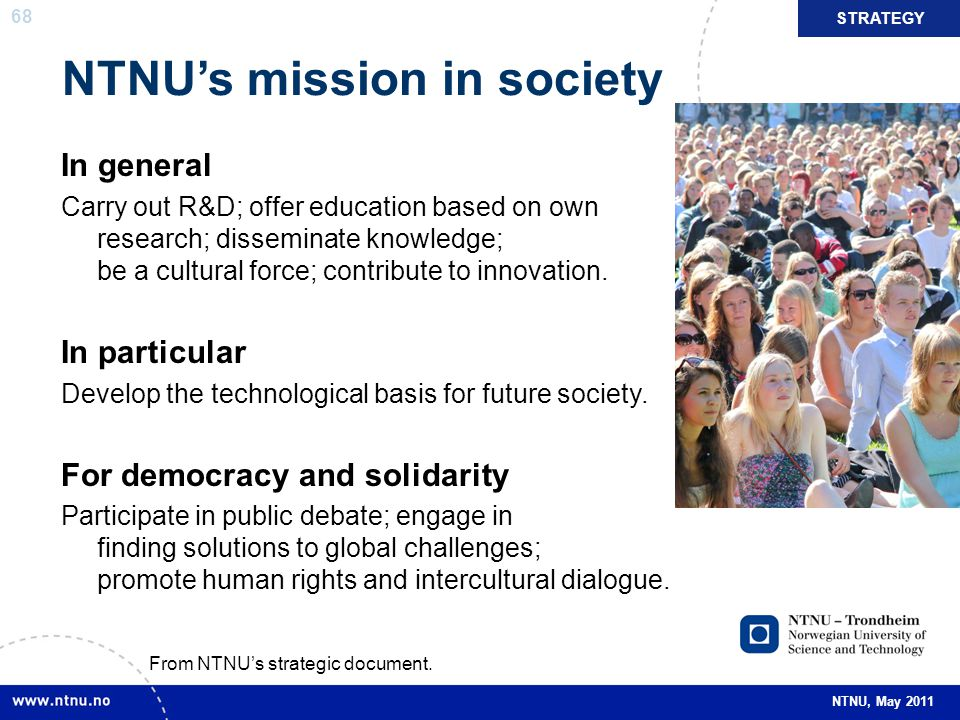 NTNU's mission in society