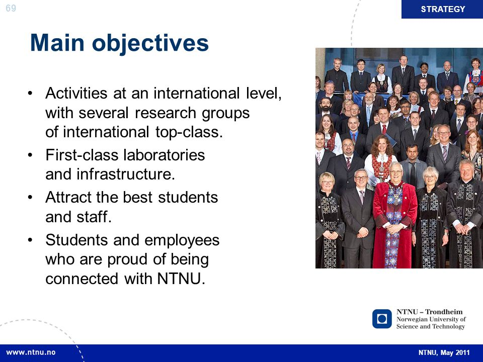 STRATEGY Main objectives. Activities at an international level, with several research groups of international top-class.