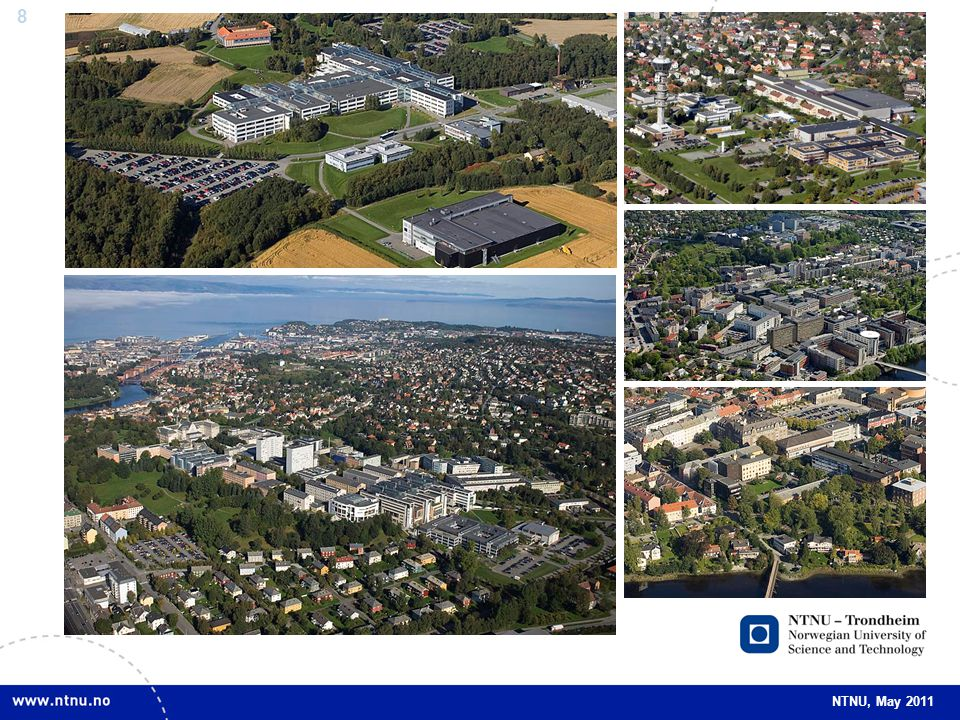 Pictures Top left: Dragvoll campus. september 2009. (Photo: Erik Børseth, Synlig design og foto as/NTNU Info.)