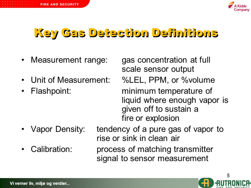 Key Gas Detection Definitions