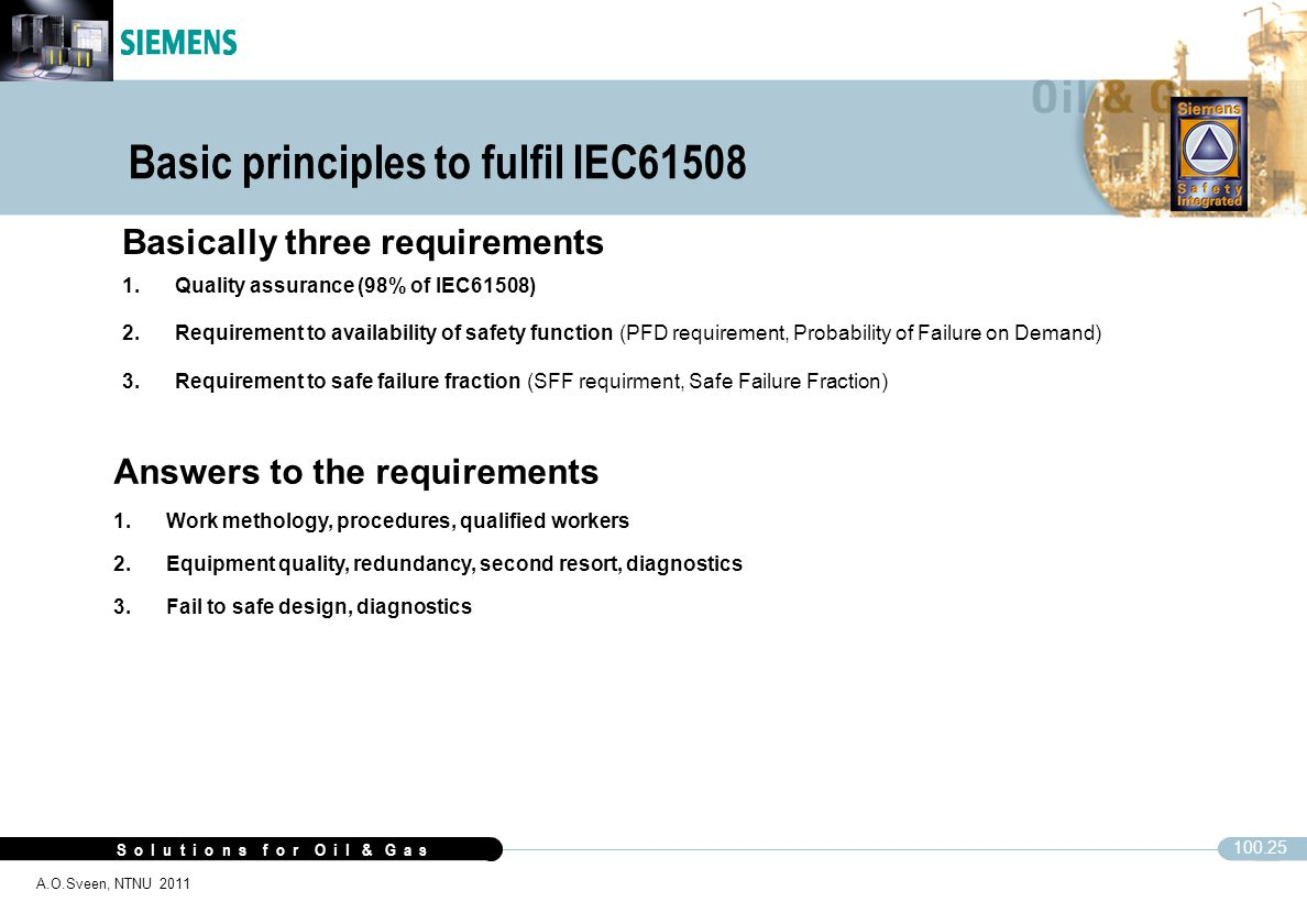 Basic principles to fulfil IEC61508