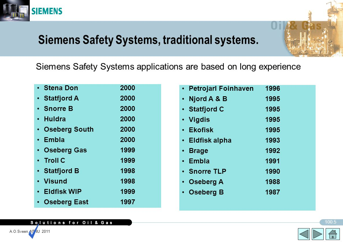 Siemens Safety Systems, traditional systems.